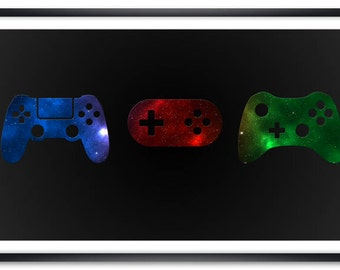 Galaxy Game Controllers Poster