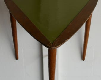 Triangle Side Table with Green Leather Top