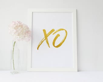 XO print, love print,Printable art, Fashion print, Fashion poster, Fashion art print, Digital download, gold print, Valentine's gift for him
