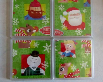 Rudolph the Red Nosed Reindeer Christmas Coasters - Set of 4 Handmade Gift