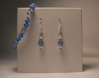 Periwinkle Blue and Silver Bracelet with Drop Earrings