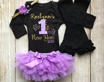 Baby Girl 1st New Year Outfit- New Years Outfit - First New Years