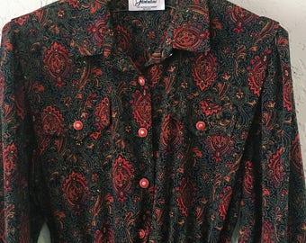 1980s Vintage Paisley Dress, Mid-Calf Length