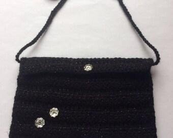 Sparkle Noir Crochet Shoulder Bag