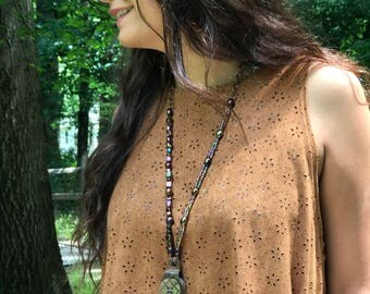 Boho Necklace with Antique Rusty Pulley and Vintage Abalone Button