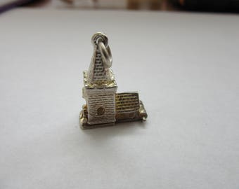 vintage sterling silver charm opening church wedding 3.9 g