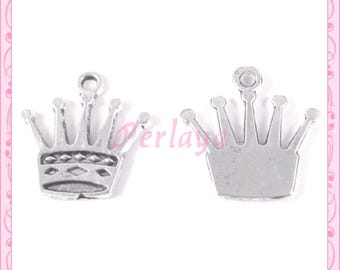 Set of 15 charms silver crowns REF868X3