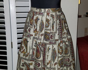Early 1960's Handmade Graphic Print Cotton Summer Skirt