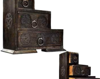 Pentagram 3 Step Box Wood Apothecary Chest Wicca Pagan Altar Storage Free Domestic Shipping!