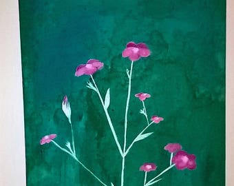 pink and silver flower painting