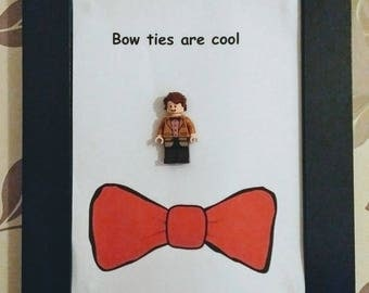 Handmade LEGO Doctor Who Mini figure box frame wall art. 'Bow ties are cool' 11th Doctor Quote