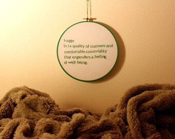 Hygge - Embroidery Hoop Wall Art w/ Definitions
