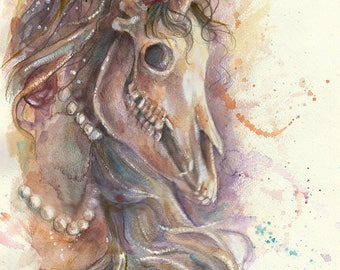 Art Print Watercolor Skeletal Unicorn