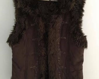 Brown Embroidered Faux Fur Vest