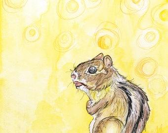 Chipmunk (original watercolor and ink painting)