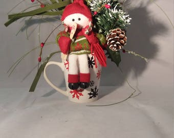 Snowman decor for your desk, table or mantel,  13""