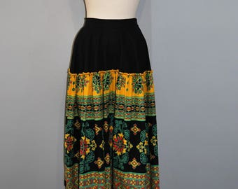 1950's Floral Fiesta Patio Peasant Skirt, Gathered Drop Waist, Aztec Pattern, Cotton Multi Coloured Medallion Print, Square Swing Dance
