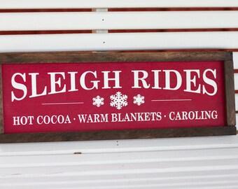 Sleigh Rides Home Decor Christmas Holiday Rustic Sign
