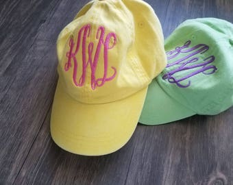 Youth Monogrammed Hats-Pigment Dyed