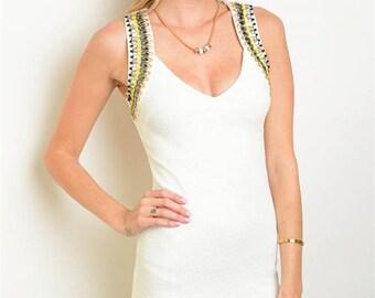 Jewel Shoulder White Dress