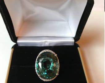 17.06 ct Blue Green Aquamarine Ring and White Sapphire