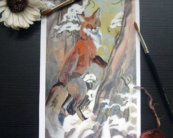 Print Fox Fuchs gouache