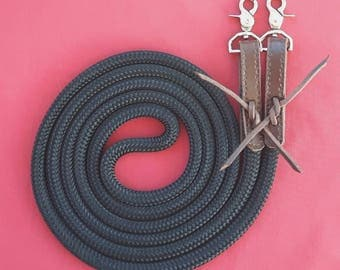Braid on Braid Horse Loop Reins with Slobber Straps and Snaps