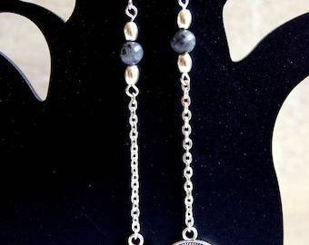 Labradorite and English penny earrings