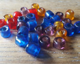 Antique Group of 50 Transparent Colored Very Old Crude Glass Pony Beads 1800's American Indian Trade