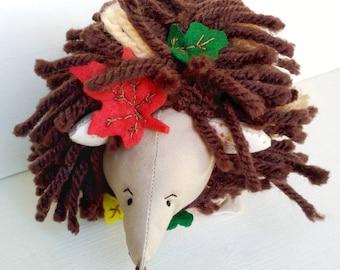 Handmade hedgehog - clothdoll - ragdoll - heirloomdoll - hedgehog - gift for kids - wool - felt leaves - hand embroidered - plush animal