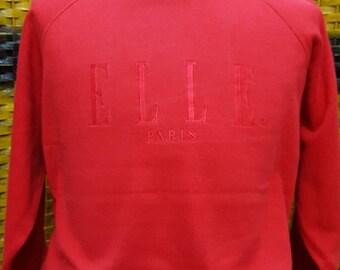 Vintage ELLE PARIS / big embroidery logo / medium size sweatshirt (V05)