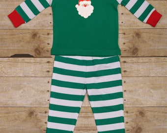 Santa Christmas Pajamas Green Striped