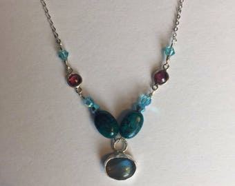 Labradorite, Tourmaline, Turquoise and Swarovski Crystal Sterling Silver Necklace