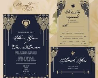 Navy art deco wedding invitation set