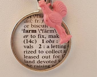 Farm dictionary pendant with rooster