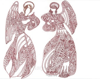 Original Ink Drawing Angels