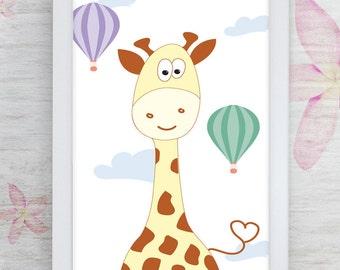 Framed Giraffe Painting,Woodland Animals,Giraffe Art Print,Nursery Wall Decor,Framed Art,baby shower gift,baby girl gift,baby room decor