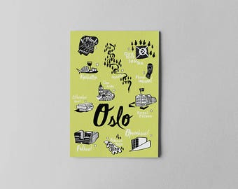 Oslo City Checklist Print. Original illustration. Travel checklist for Oslo, Norway. Illustrated monuments and hotspots