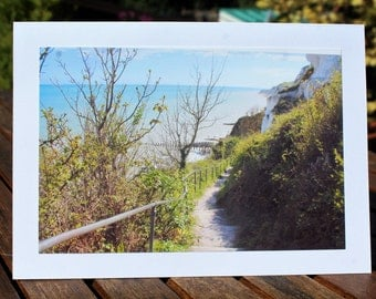 Any occasion photo card -  Cliff pathway to the beach