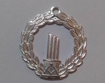 Ladies Masonic Broken Column + Square + Compass Pendant silver 925