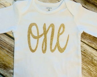 First Birthday One Gold Glitter One Bodysuit, Girl One First Birthday Shirt, 1st Birthday Shirt Girl