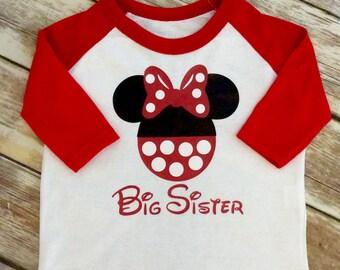 Big Sister Minnie Mouse Baseball Shirt, Big Sister Minnie Raglan Shirt, Minnie Sisters Shirts, Minnie Big Sister Shirt, Minnie big sister T