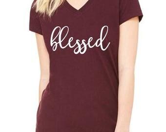 Blessed, Thankful, Thanksgiving Shirt, Fall Shirt, Grateful, Blessed Shirt, Pumpkin, B
