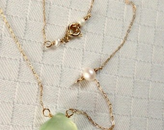 Green Chalcedony, Pearl, 14k gold, White Topaz setting Gemstone Necklace
