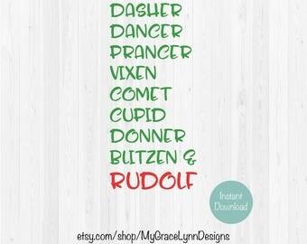 Reindeer Names SVG Dasher, Dancer, Prancer, Vixen, Comet, Cupid, Donner, Blitzen & Rudolf - SVG Cut File
