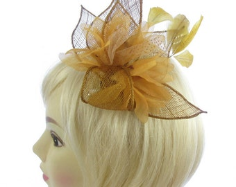 Gold sinamay hair fascinator clip , Weddings, Races, Ladies day