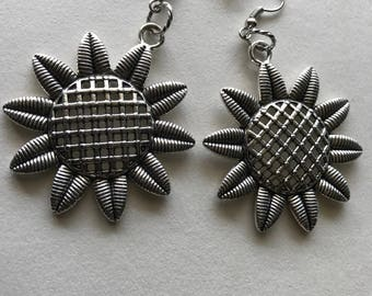 Silver sunflower earrings