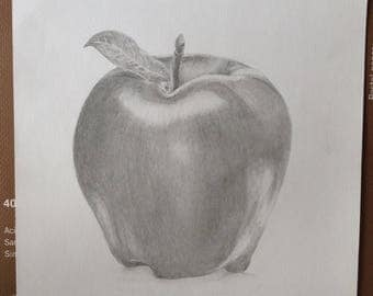 Minimalistic Apple Graphite Drawing