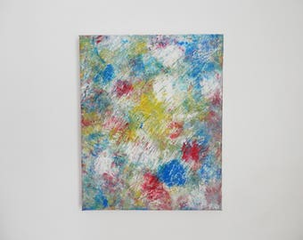 ABSTRACT painting - 24 X 30 CM - oil - blue, yellow, white, red - effect material, footprints, footprints
