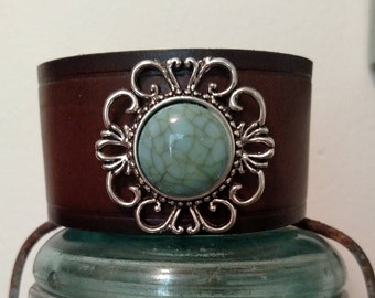 Leather Cuff Bracelet, Brown an Turquoise